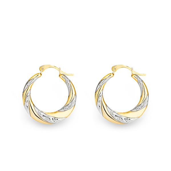 9ct gold-bonded silver 2-tone tapered hoops