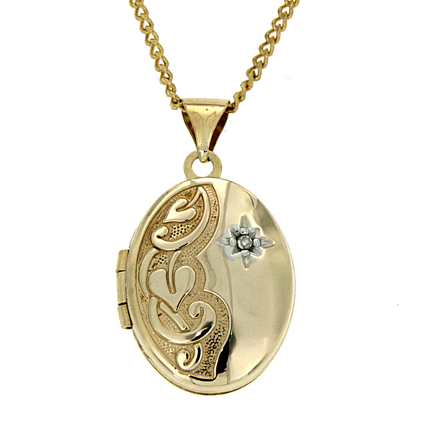 9ct gold-bonded silver CZ locket