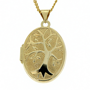 9ct gold-bonded silver oval tree of life locket