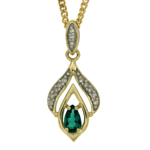 9ct gold created emerald and diamond pendant