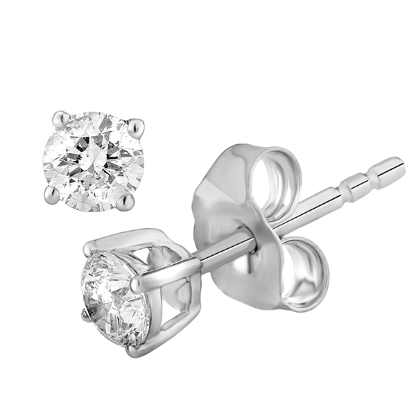 9ct White Gold 4 Claw Diamond Studs (Tdw = 0.25ct Gh P1/2)