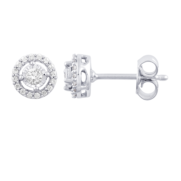 9ct white gold 0.33ct diamond halo earrings