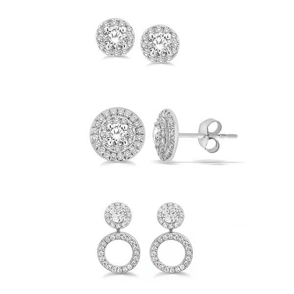 9ct white gold diamond studs