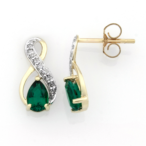 9CT Pear-shaped Created Emerald and Diamond Infinity Stud Earrings