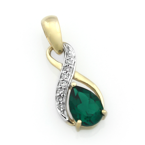 9CT Pear-shaped Created Emerald and Diamond Infinity Pendant