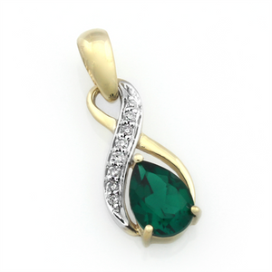 9ct Gold Pear-Shaped Created Emerald And Diamond Infinity Pendant