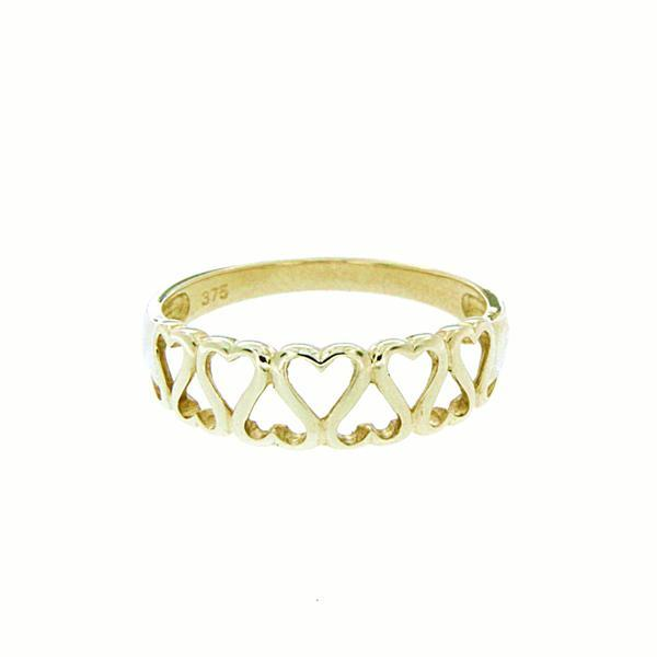 9ct gold hearts ring