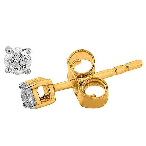 9ct Yellow Gold 4 Claw Diamond Studs (Tdw = 0.15ct Gh P1/2)
