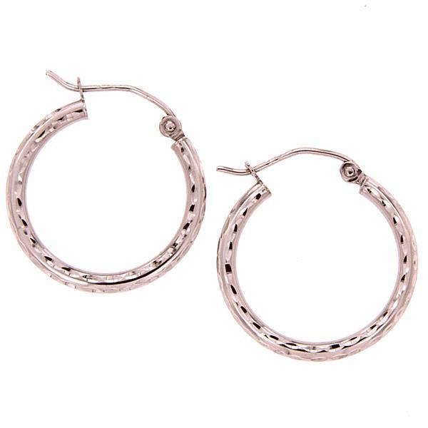 9ct rose gold 15mm dia cut hoop earrings