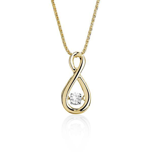 DANCING DIAMONDS 9ct gold diamond pendant #