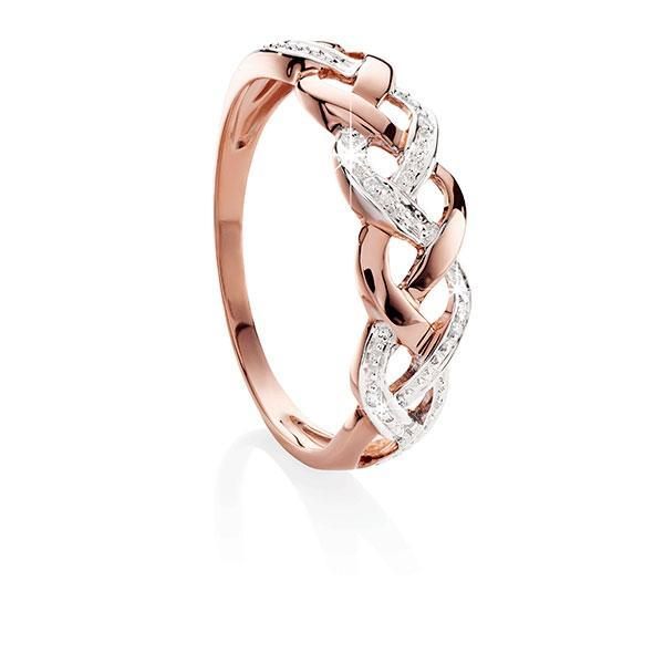 9ct Rose Gold Diamond-Set Open-Plait DreSterling Silver Ring