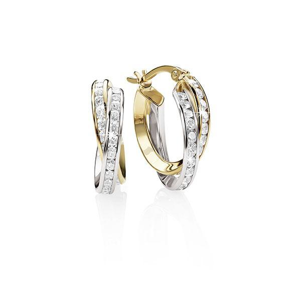 9ct yellow & white gold cz hoops