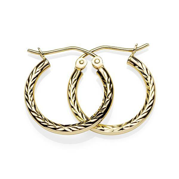 9ct yellow gold 15mm dia cut hoop earring