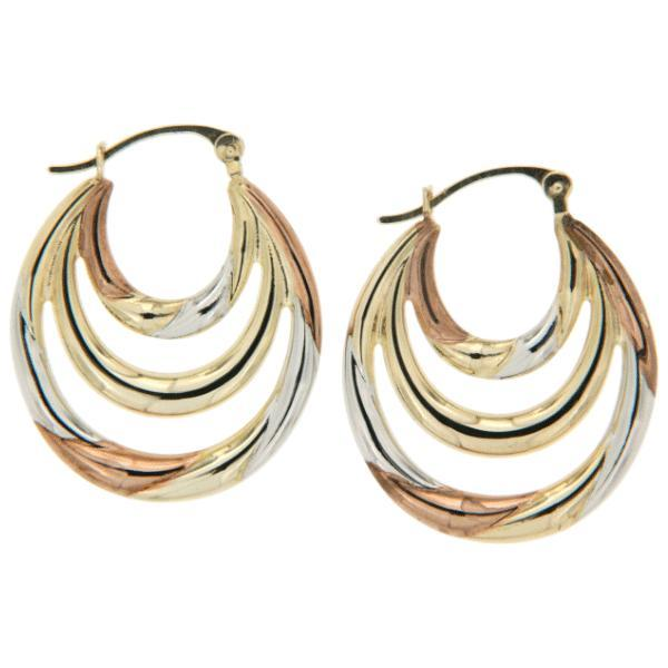 9ct gold-bonded tri colour hoops~