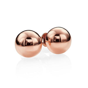 9ct Rose Gold 8mm Polished Half Dome Stud Earrings. Posts Are Notched For Added Security. 9ct Gold Clutch-Backs.