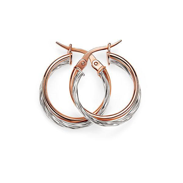 9ct rose-white gold hoops