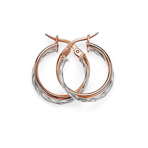 9ct 2 Tone Rose Gold/White Gold 15mm Double Tube Polished/Twist CroSterling Silverover Hoop Earrings