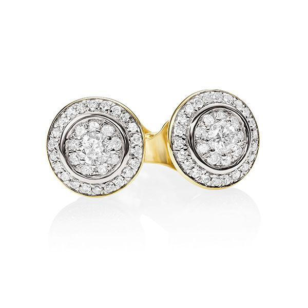 9ct YG 0.25ct halo cluster stud earrings