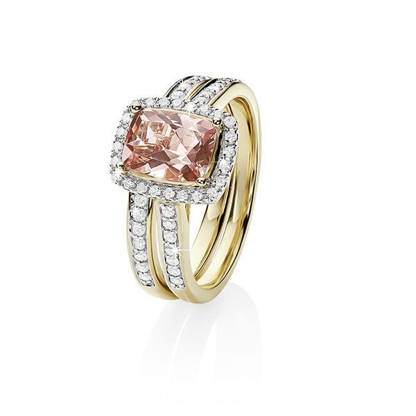 9ct gold cushion morganite & diamond ring set