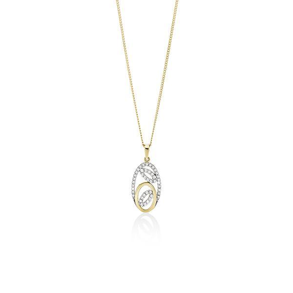 9ct gold cubic zirconia oval pendant #