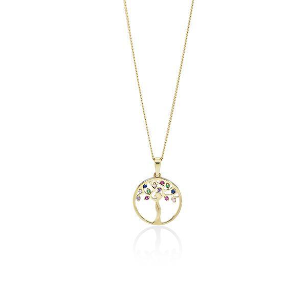 9ct gold Multi Color CZ Circle Pendant #
