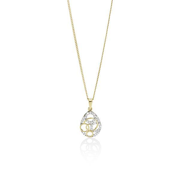 9ct gold cubic zirconia open circle pendant #