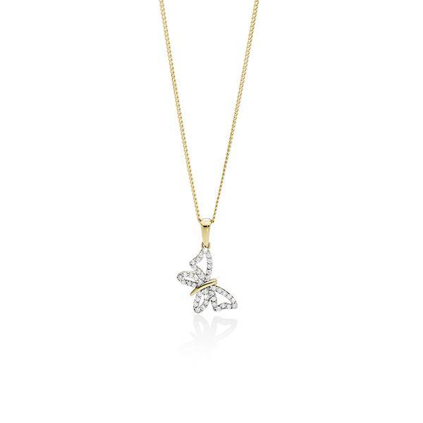 9ct Gold Cubic Zirconia (CZ) Butterfly Pendant