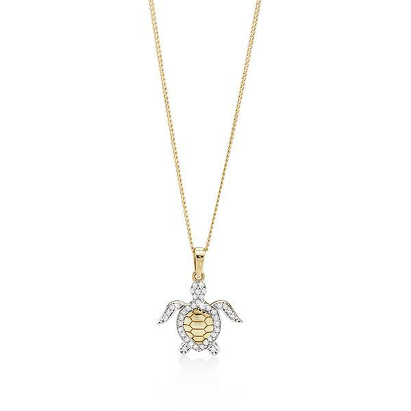 9ct gold cubic zirconia turtle pendant #
