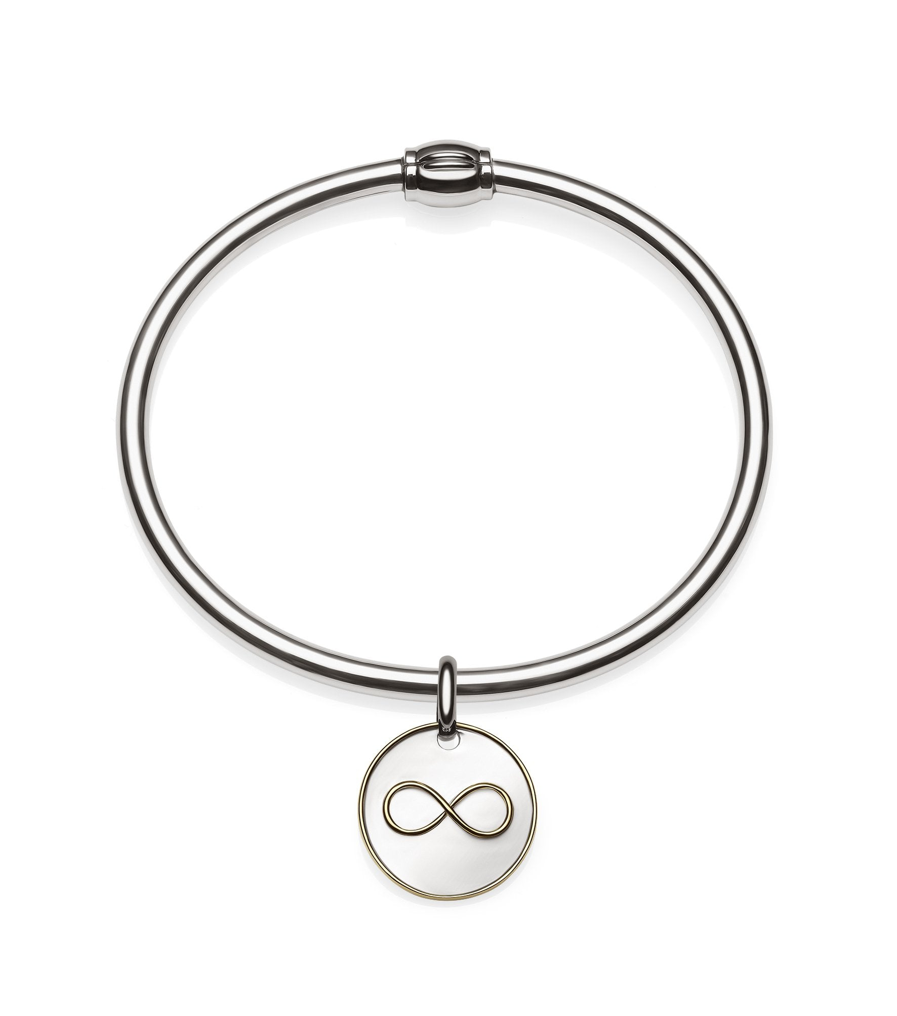Sterling Silver Oval 4mm Bangle 55x65cm +  Sterling Silver 2-Tones Infinity Charm