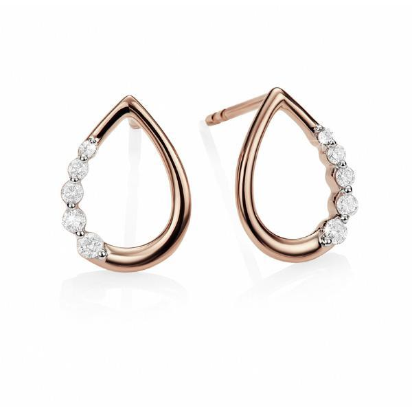 9ct rose gold 0.10ct+ diamond tear drop studs