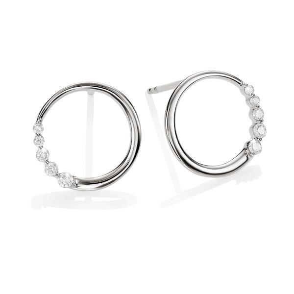9ct white gold 0.10ct+ diamond circle studs