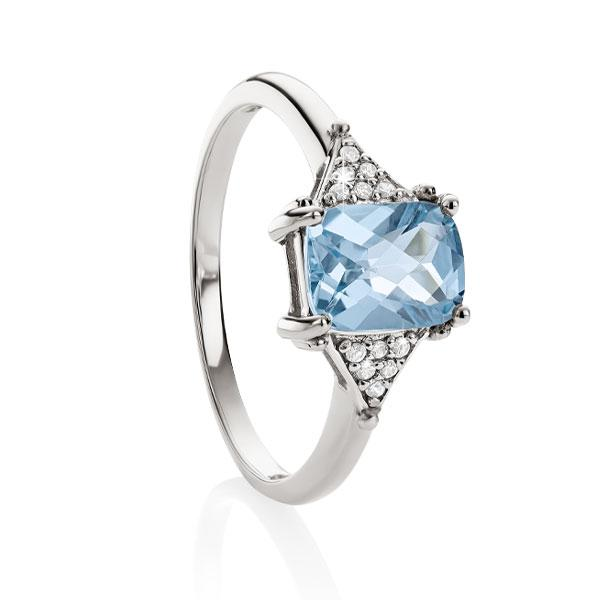 9ct white gold checker topaz & dia ring