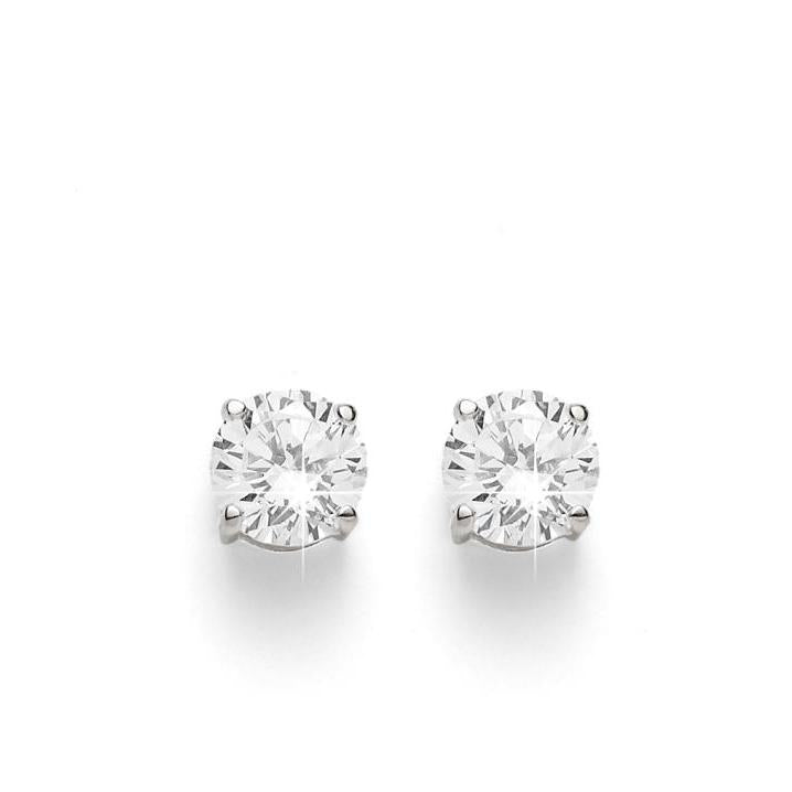 sterling silver 5mm round cubic zirconia studs