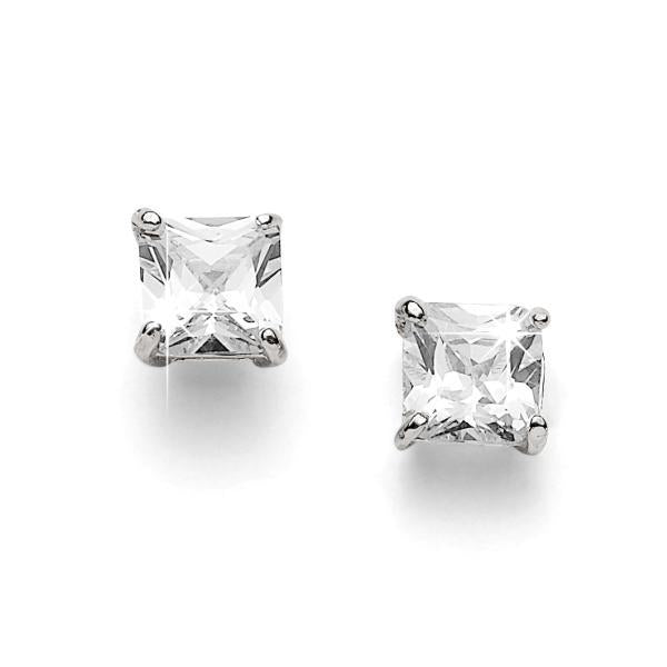 sterling silver 6mm princess cubic zirconia studs