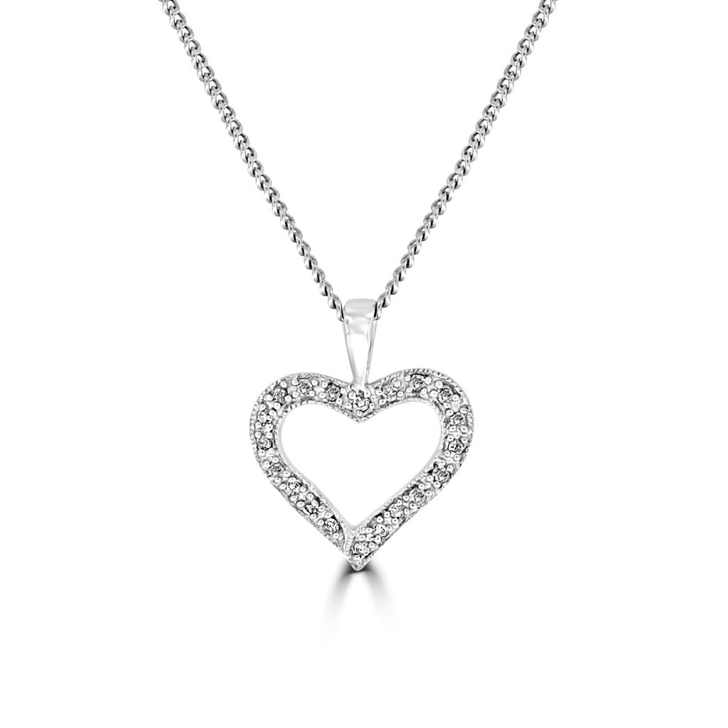 9ct White Gold Open Heart Diamond Set Pendant Without Chain