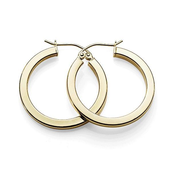 9ct Gold Bonded Silver 20mm Square Tube Hoops