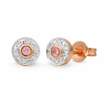 9CT RWG Pink Caviar Halo Stud Earrings