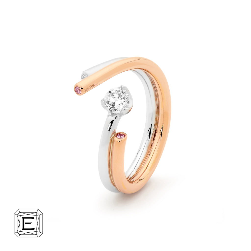 18CT Desert Rose Argyle Pink Diamonds White and Rose Gold Ring