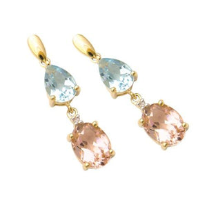 9ct Gold Aquamarine, Morganite and Diamond Earrings