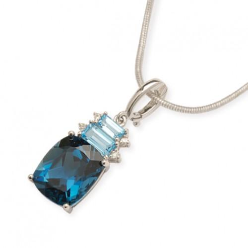 9CT London Blue and Swiss Blue Topaz Pendant