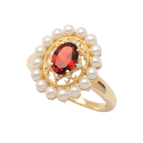 9ct Gold Garnet and seed pearl cluster ring