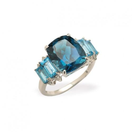 9ct  WG London and Swiss Blue Topaz and diamond ring