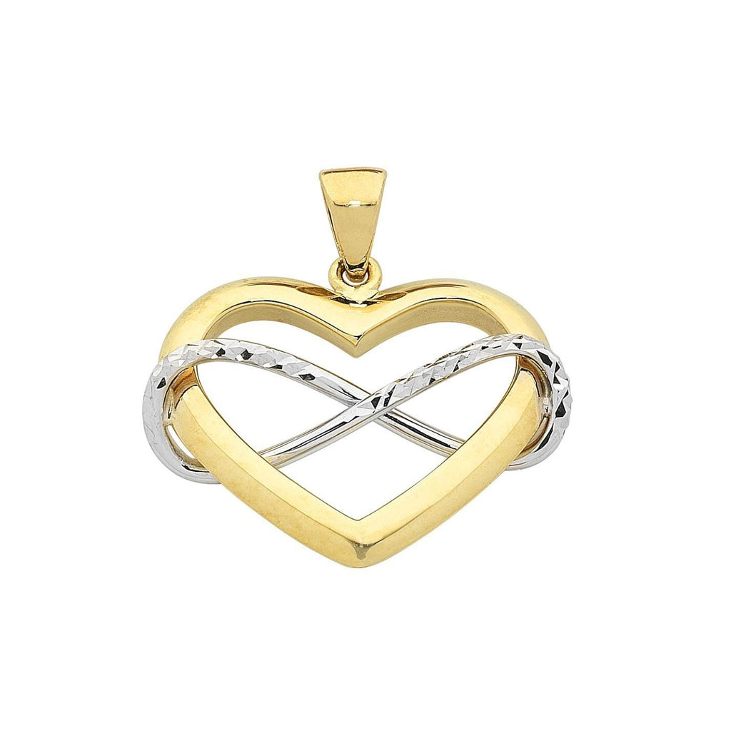 9ct 2-Tone Infinity Heart Pendant with Complimentary Plated Chain