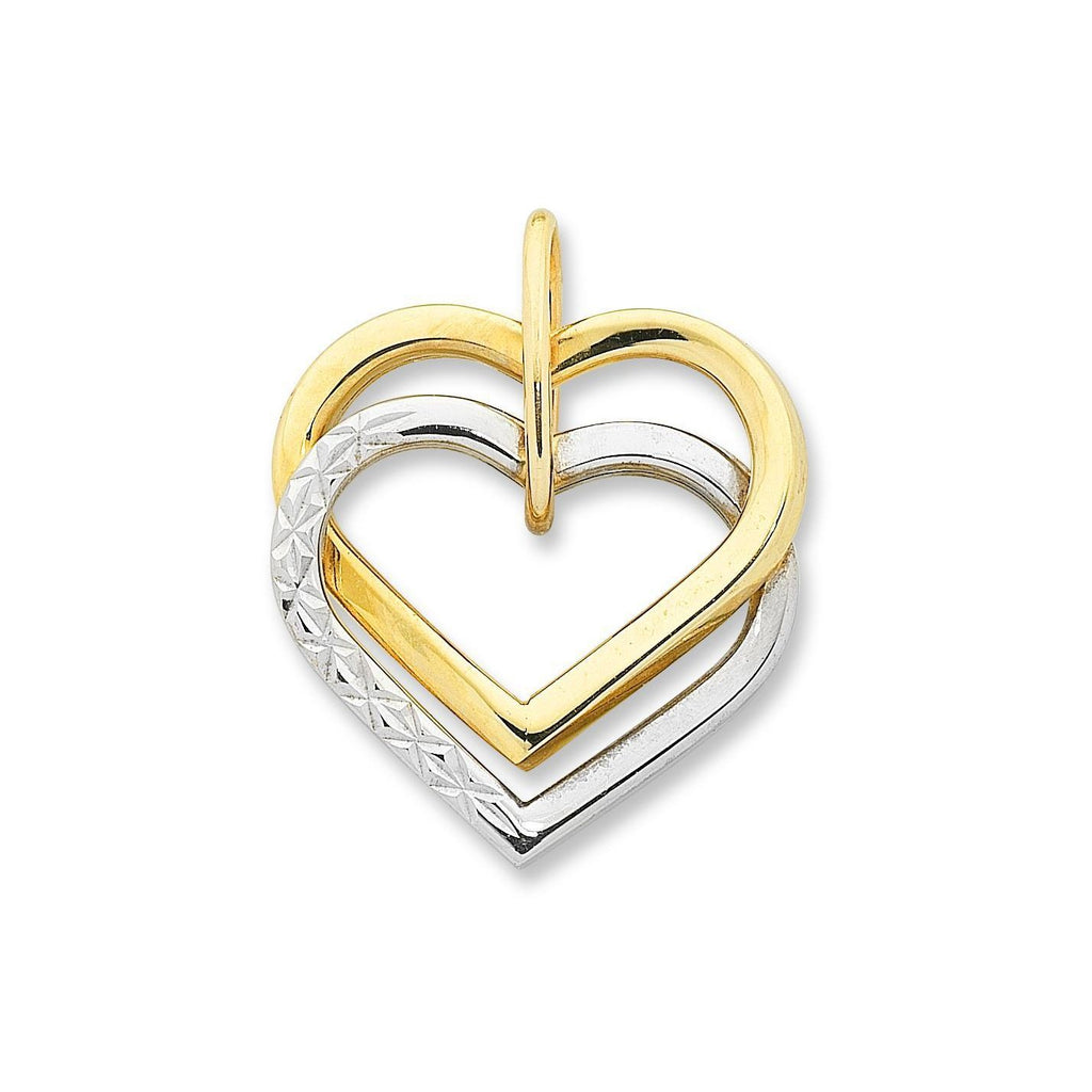 9ct Gold 2-Tone Double Heart Pendant with Complimentary Plated Chain