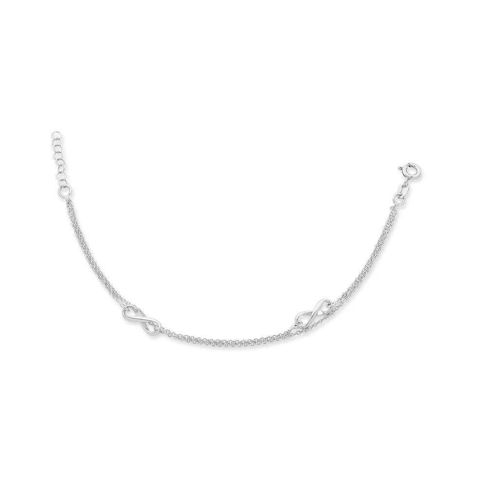 Sterling Silver Double Row 'Infinity' Anklet