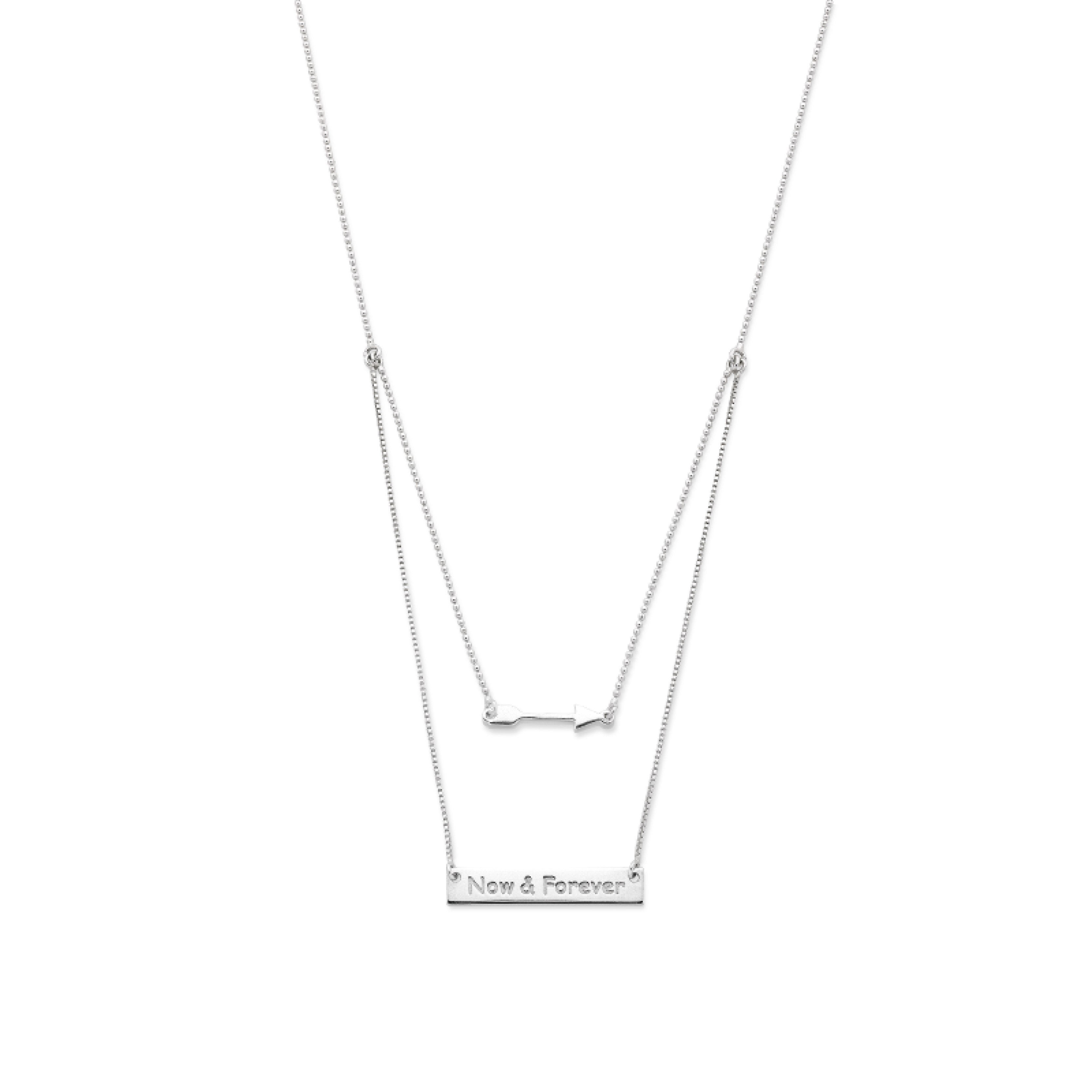 Sterling Silver Arrow & Bar Necklace