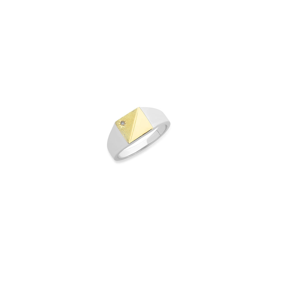 9ct Gold & Sterling Silver Gents Ring with Diamond