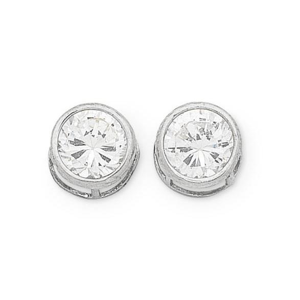 9ct White Gold Cubic Zirconia Bezel Set Studs