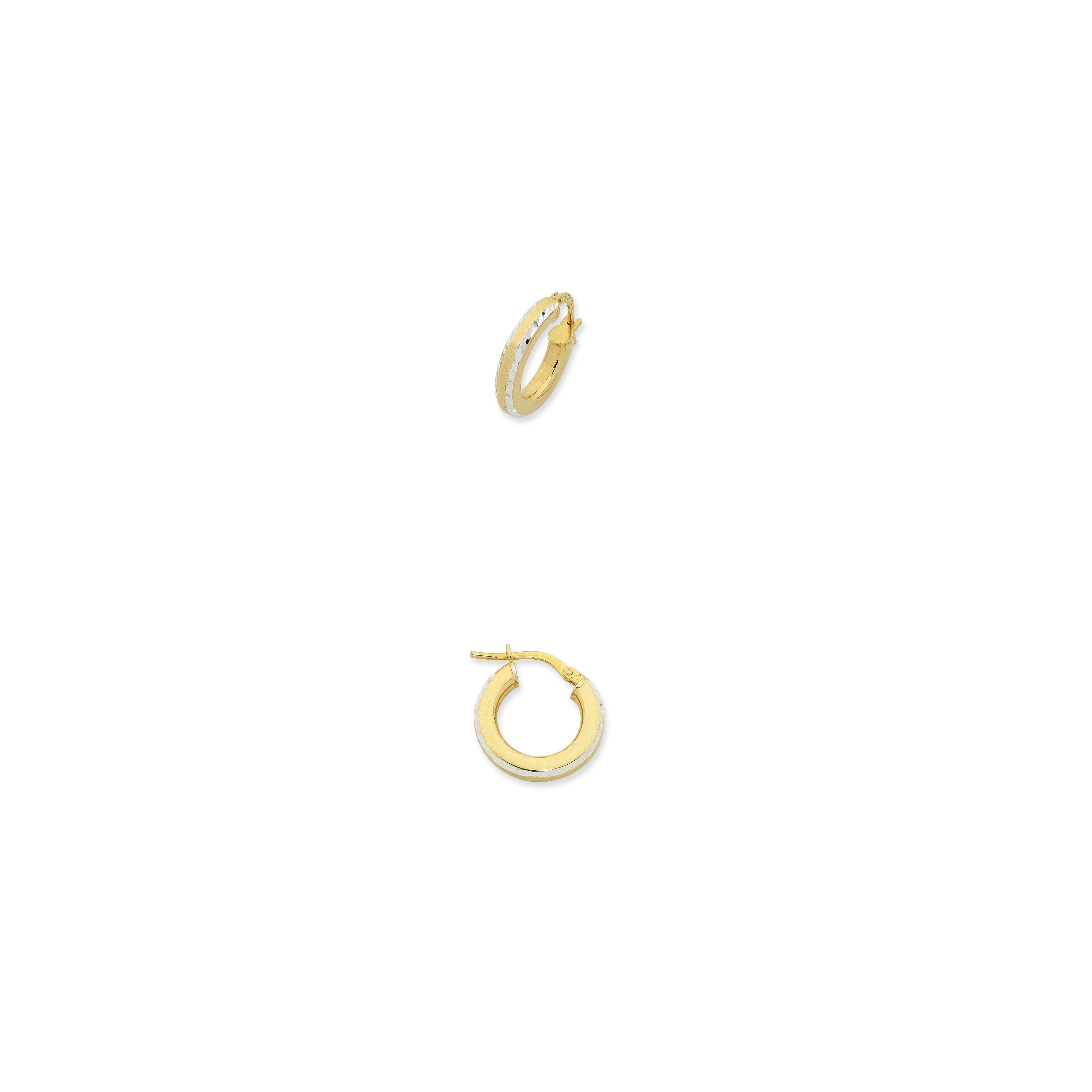 9ct Gold Silver Filled Diamond Cut Hoop Earrings