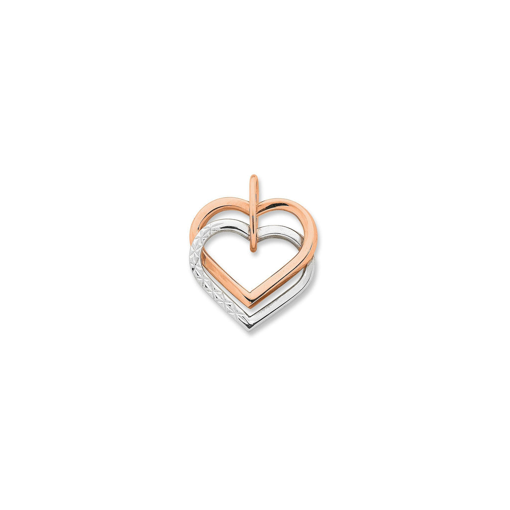 9ct Rose Gold 2-Tone Double Heart Pendant with Complimentary Plated Chain
